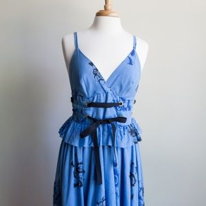 Anthropologie blue dress with corset waist